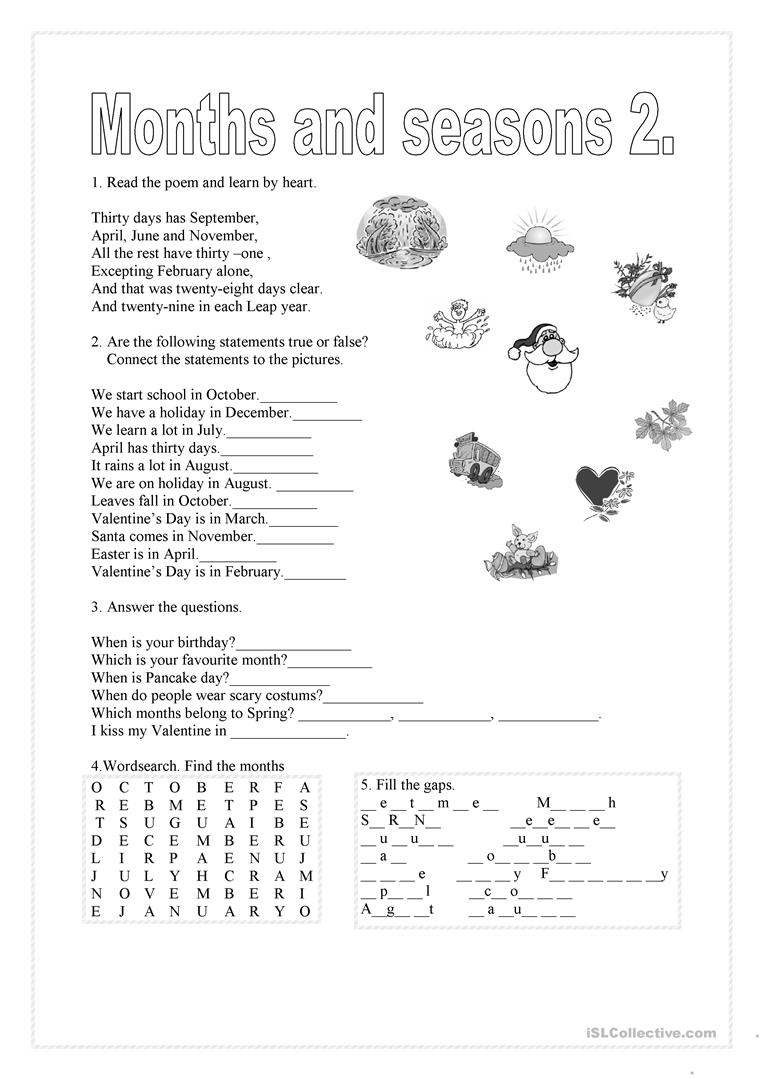 Months And Seasons 2 English Esl Worksheets For Distance