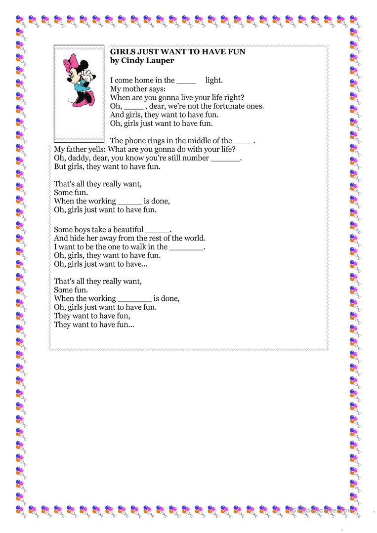 Girls Just Want To the girls just want to have fun. - english esl worksheets