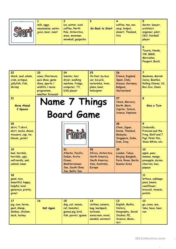 Board Game - Name 3 Things (Hard)