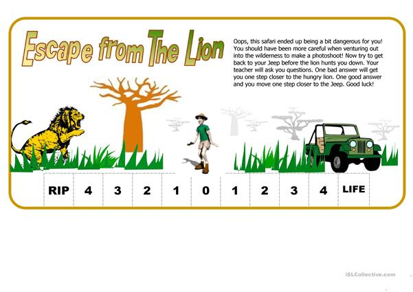 Escape From The Lion (Fun Way to test Students)