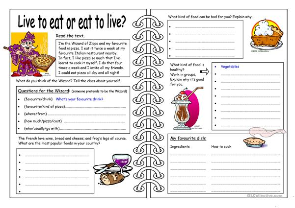 Four Skills Worksheet - Live to eat or eat to live