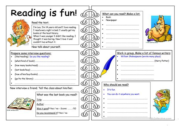 Four Skills Worksheet - Reading is Fun!
