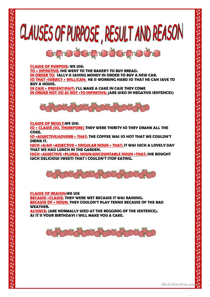 clauses of purpose reason and result worksheet free esl printable worksheets made by teachers. Black Bedroom Furniture Sets. Home Design Ideas