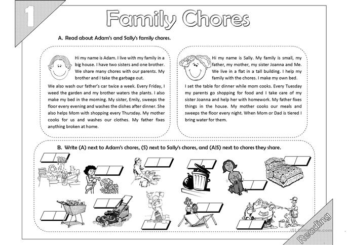 92 FREE ESL chores worksheets