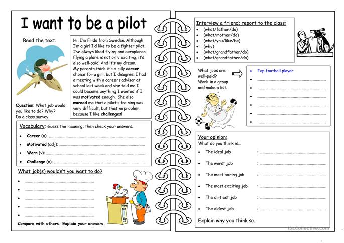 Four Skills Worksheet - I want to be a pilot - ESL worksheets
