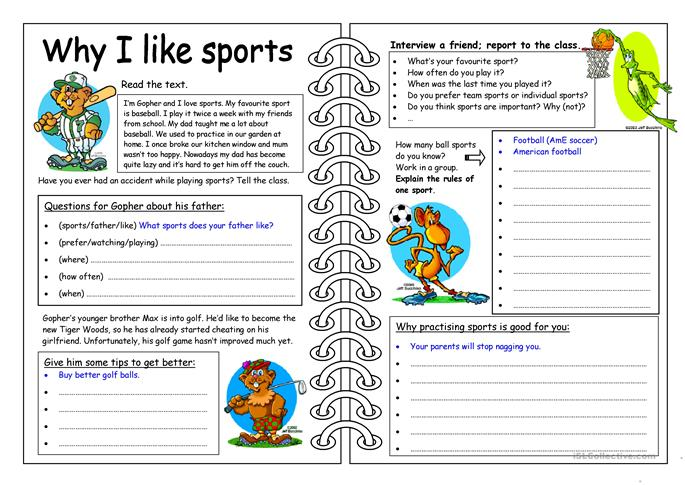 Four Skills Worksheet - Why I like Sports - ESL worksheets