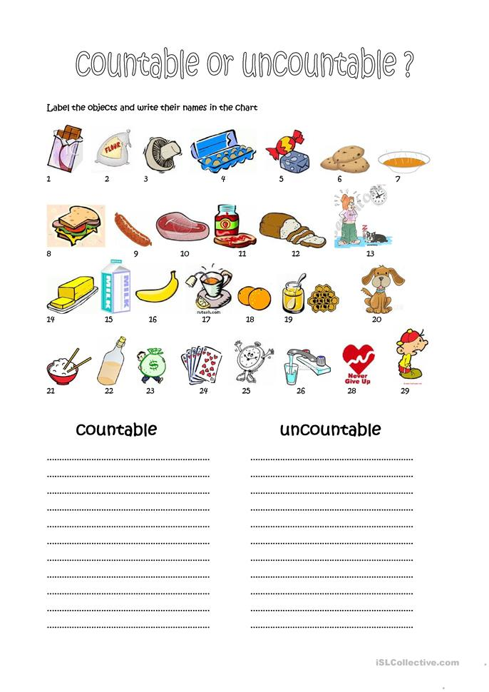 214 FREE ESL Countable and uncountable nouns worksheets