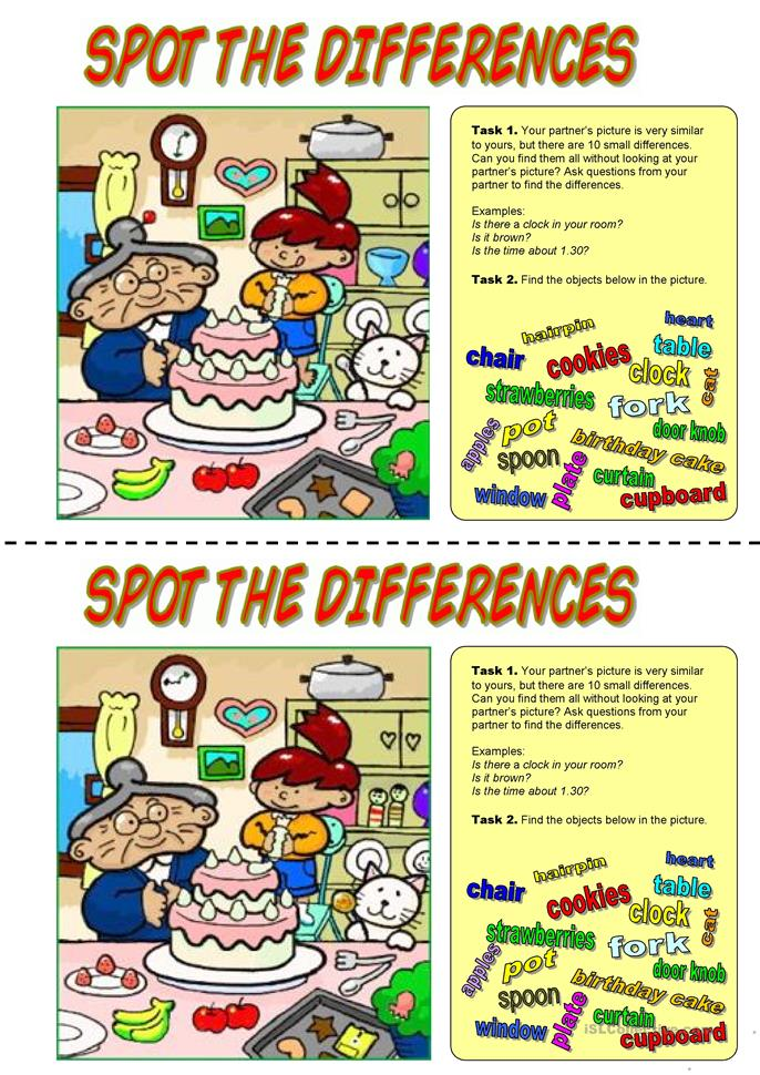 Spot the differences. ... - ESL worksheets