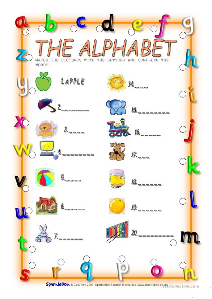 Esl First Letters Of The Aphabet