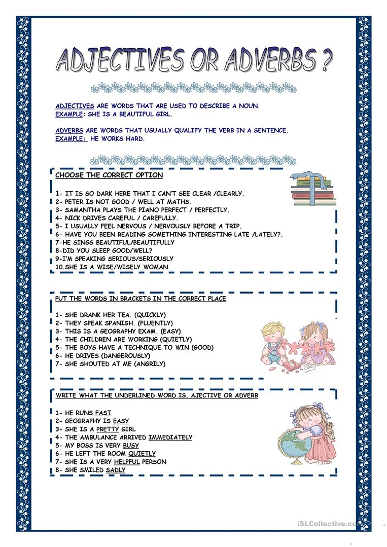 Worksheets Adjective Or Adverb Worksheet 86 free esl adjective adverb worksheets adjectives or adverbs