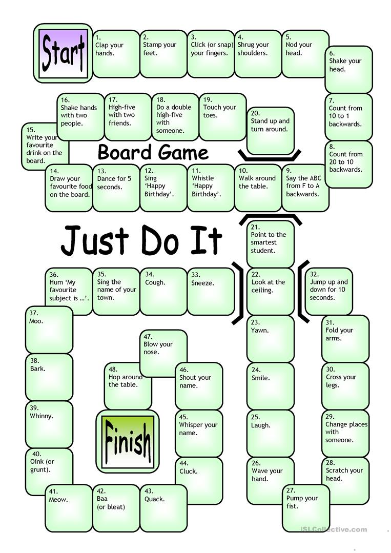 picture relating to Esl Games for Adults Printable named Board Video game - Exactly Do It - English ESL Worksheets
