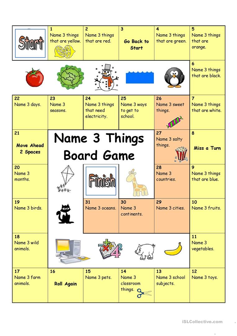 picture relating to Esl Games for Adults Printable identify Board Match - Popularity 3 Factors (Basic) - English ESL Worksheets