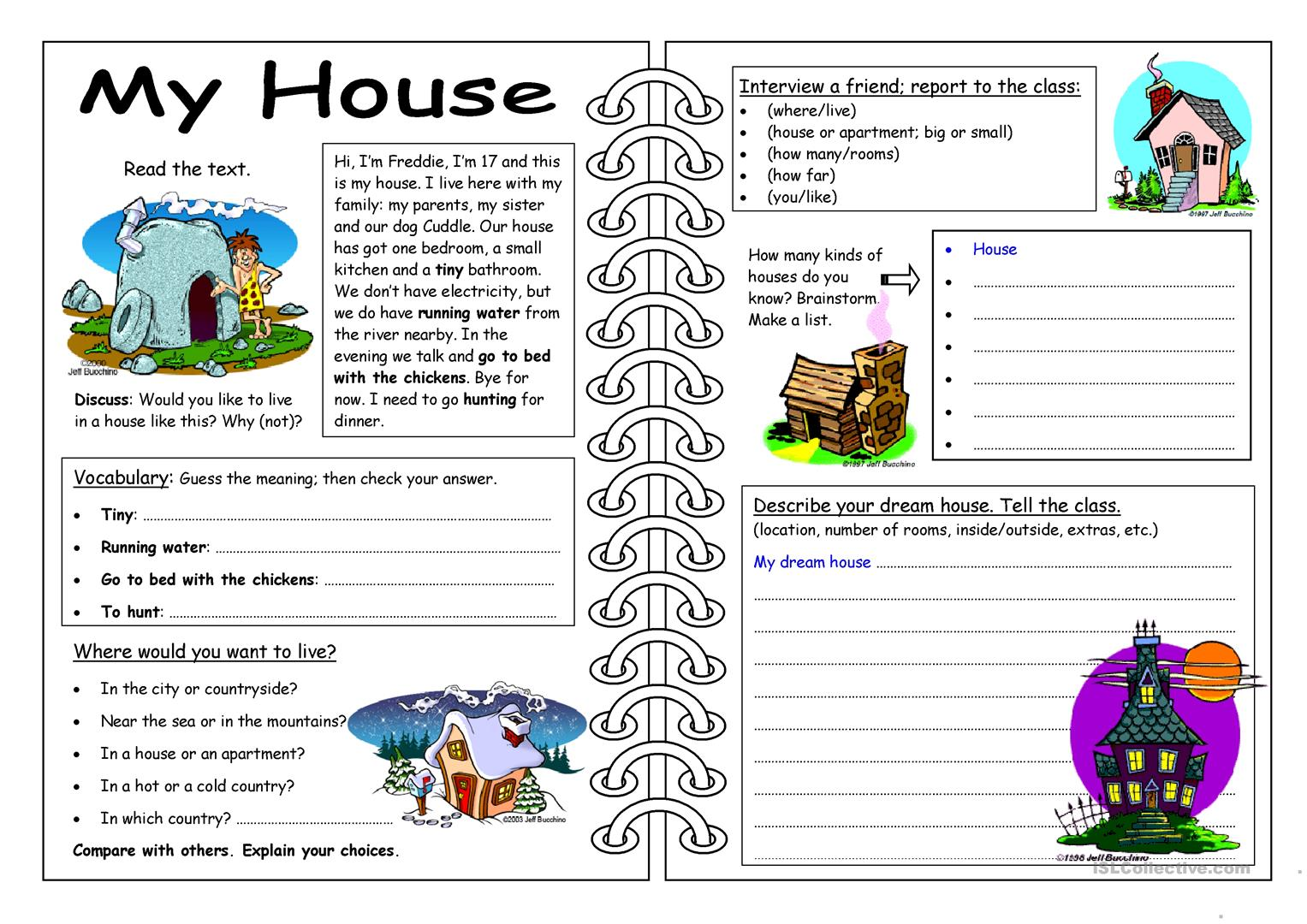 Printable Worksheets Home : Four skills worksheet my house free esl