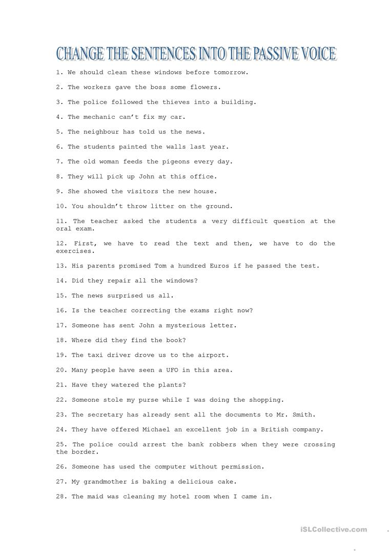 worksheet Passive Voice Worksheet 515 free esl passive voice or active worksheets exercises