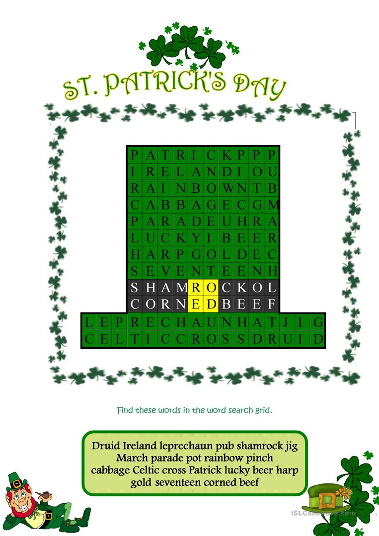 image relating to St Patrick Word Search Printable referred to as St Patricks Working day Wordsearch - English ESL Worksheets
