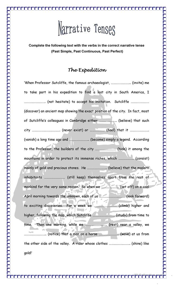 The Expedition - Narrative Tenses worksheet - Free ESL printable