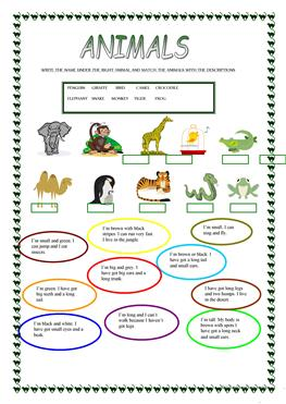 English Esl Animals Worksheets Most Downloaded 2594 Results