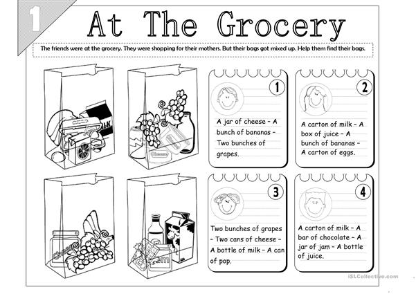 At The Grocery: Food Quantity (2-pages)