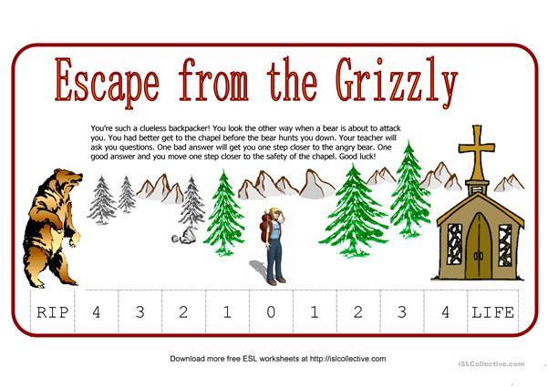 Escape from the Grizzly (Fun way to test students)