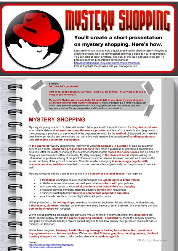 Mystery Shopping (ESP Business English for Market Researchers)