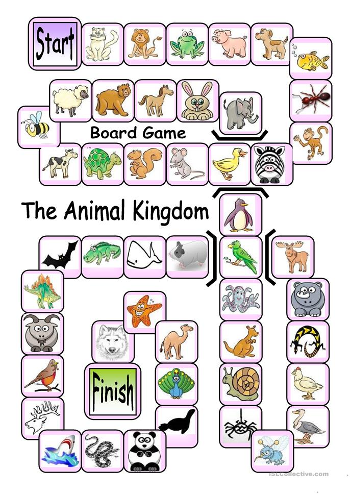 Board Game - The Animal Kingdom - ESL worksheets