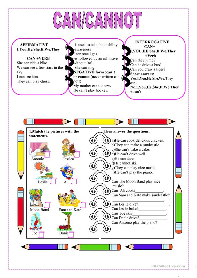 Can,cannot - ESL worksheets