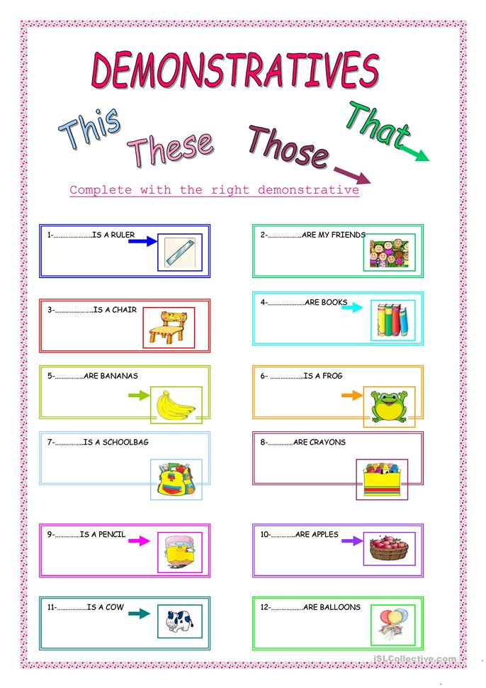 ... ESL Pronouns: THIS, THAT, THESE, THOSE (demonstratives) worksheets
