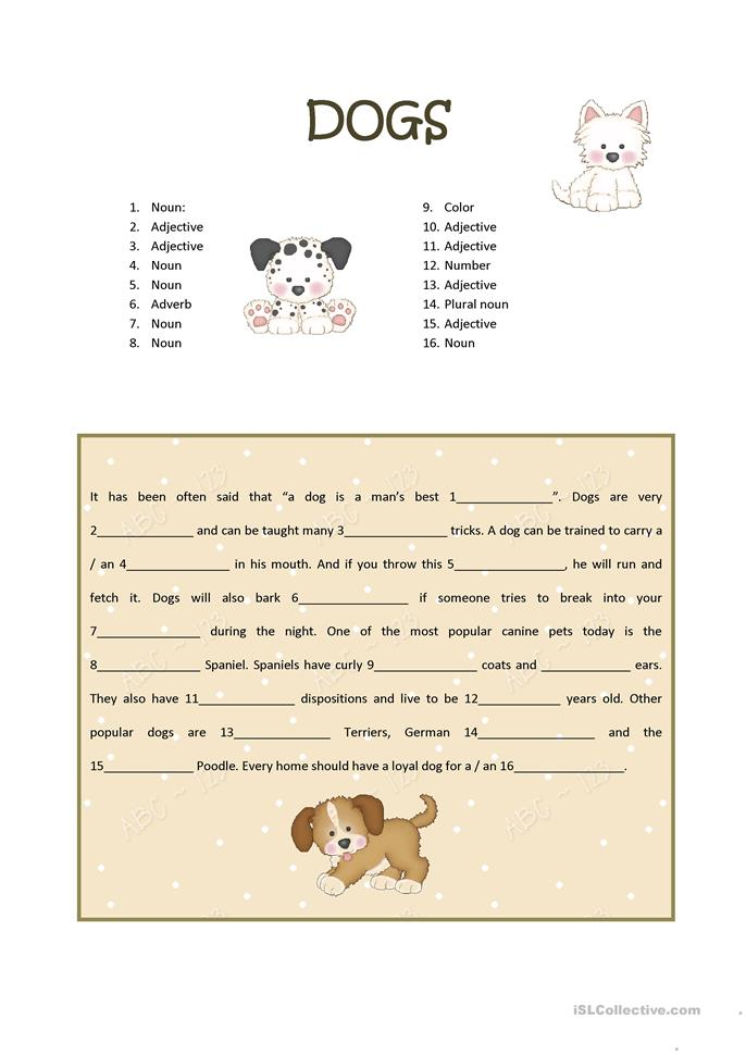 small_1067_dogs_madlibs_1 Worksheet Adjective And Adverb on 8th grade, 3rd grade, answer key, printable grade 6, seventh grade, middle school, expanding simples e,