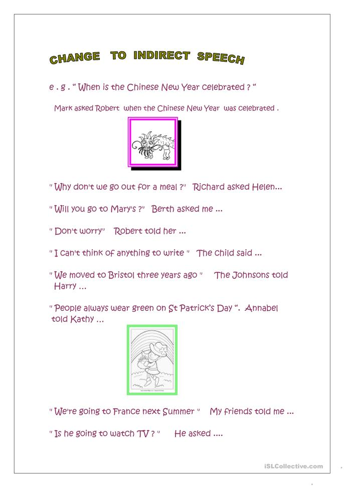 Indirect and direct speech - ESL worksheets
