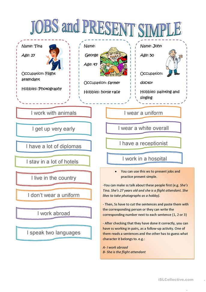 Jobs and Present simple - ESL worksheets