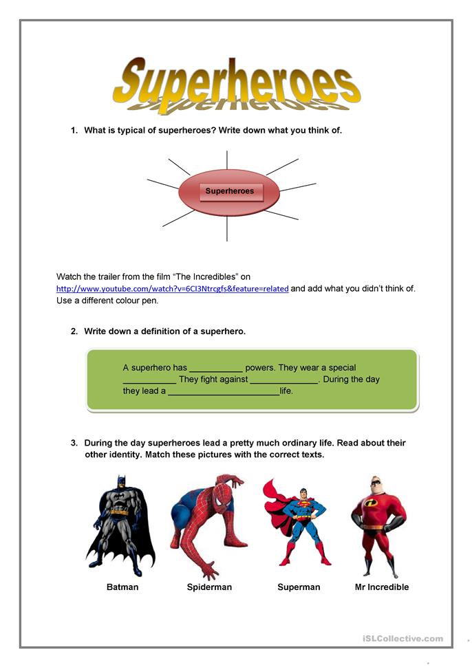 superheroes worksheet free esl printable worksheets made