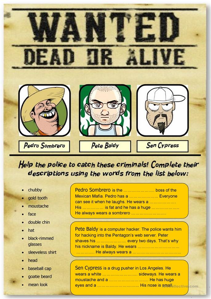 Wanted: 3 criminals (people description) - ESL worksheets