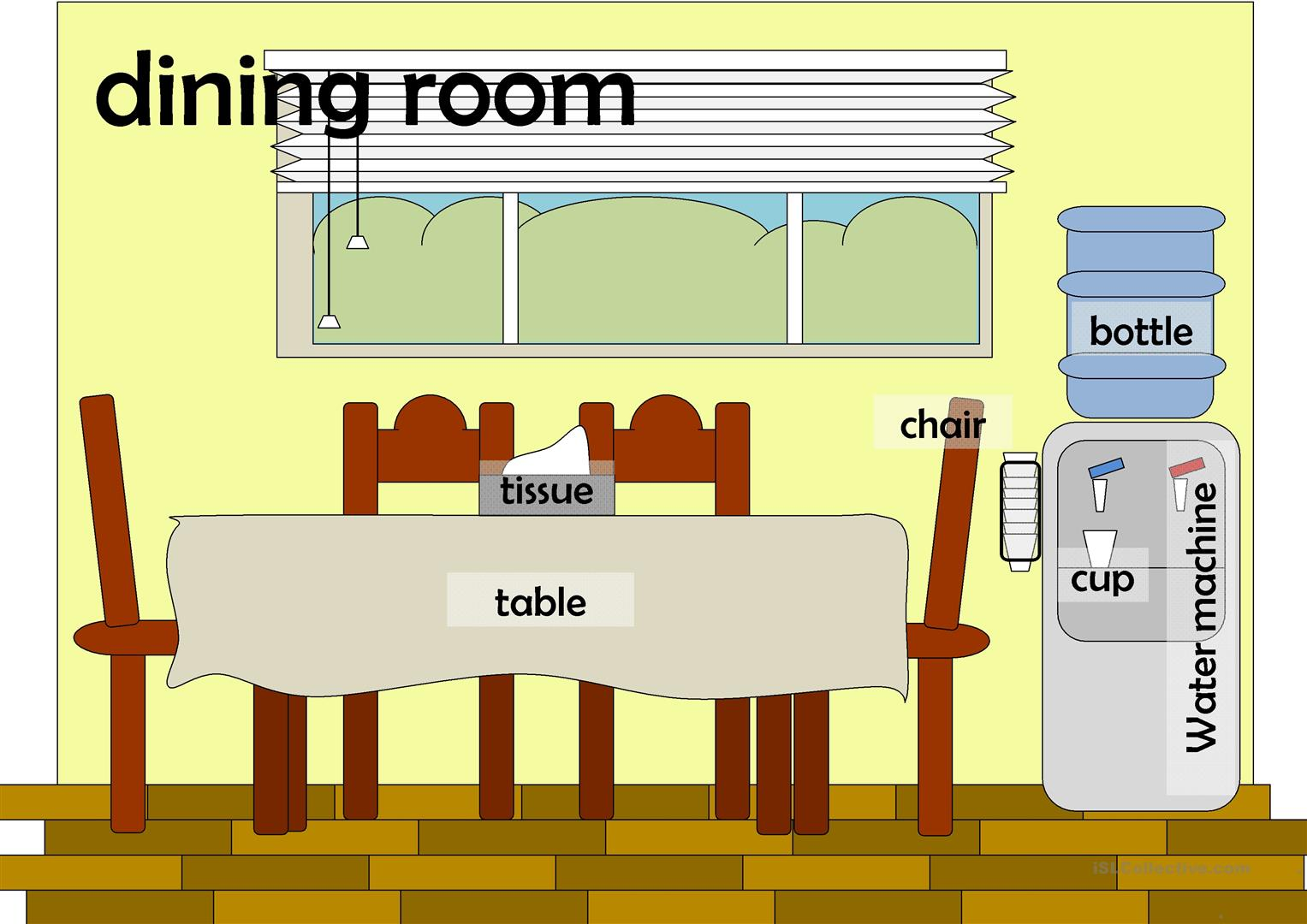 Rooms in a house flashcards worksheet free esl for Dining room vocabulary esl