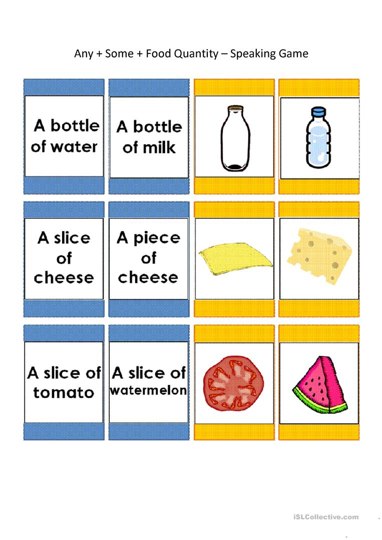 Speaking Cards: Any, Some, Food Quantity (44 Cards