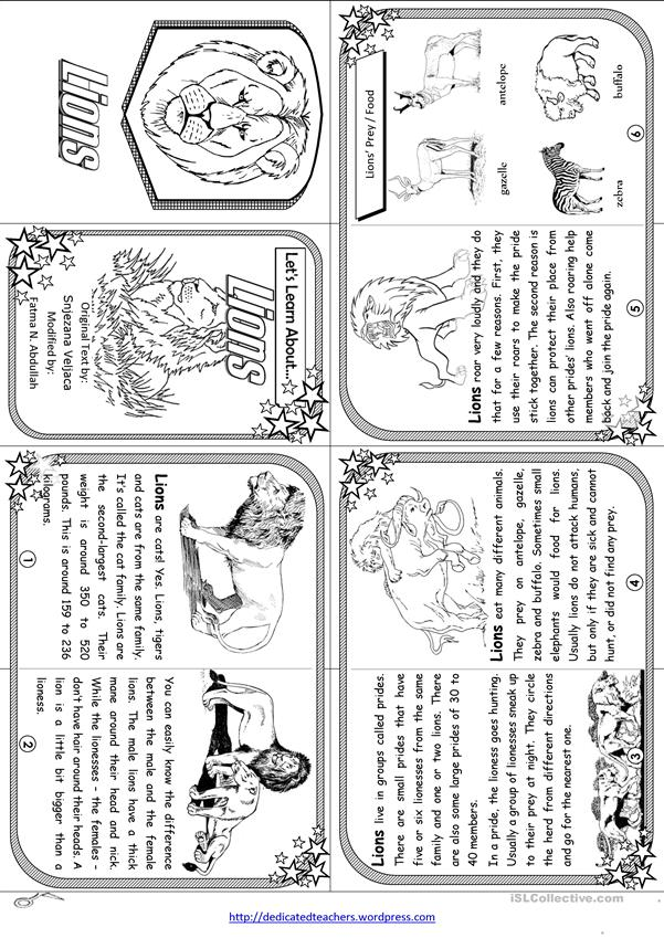 Let's Learn About Lions - Elementary Level [ Minibook ]