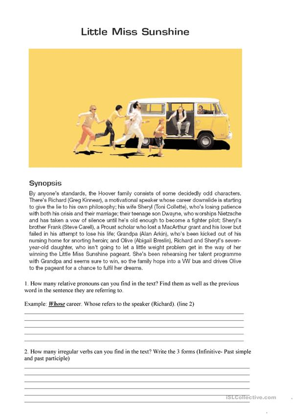 Little Miss Sunshine Worksheet and Quiz