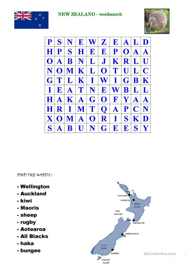 New Zealand - wordsearch