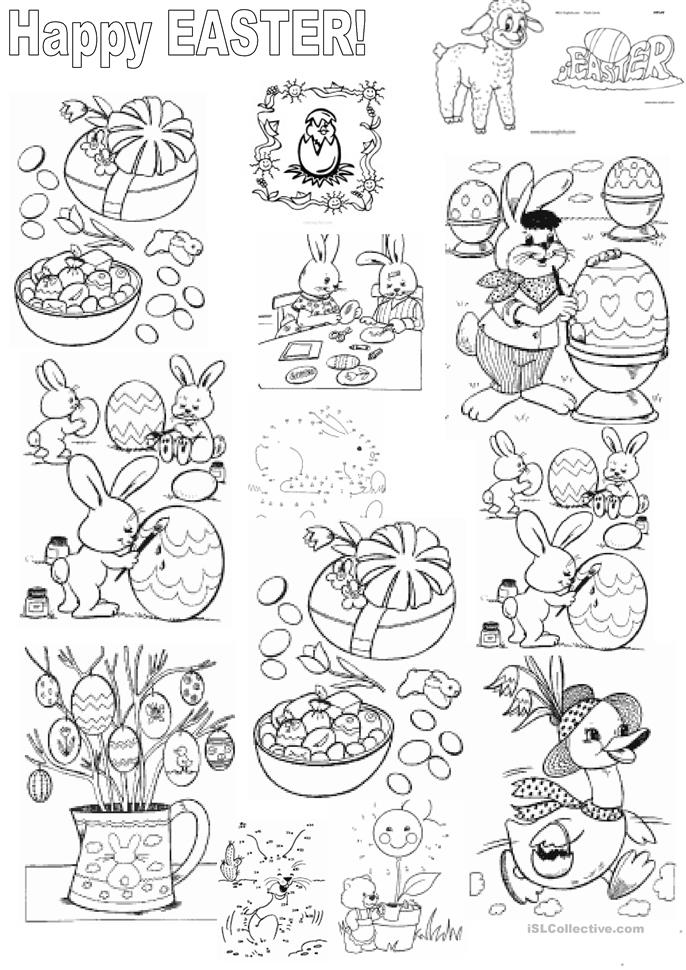 EASTER and colouring - ESL worksheets