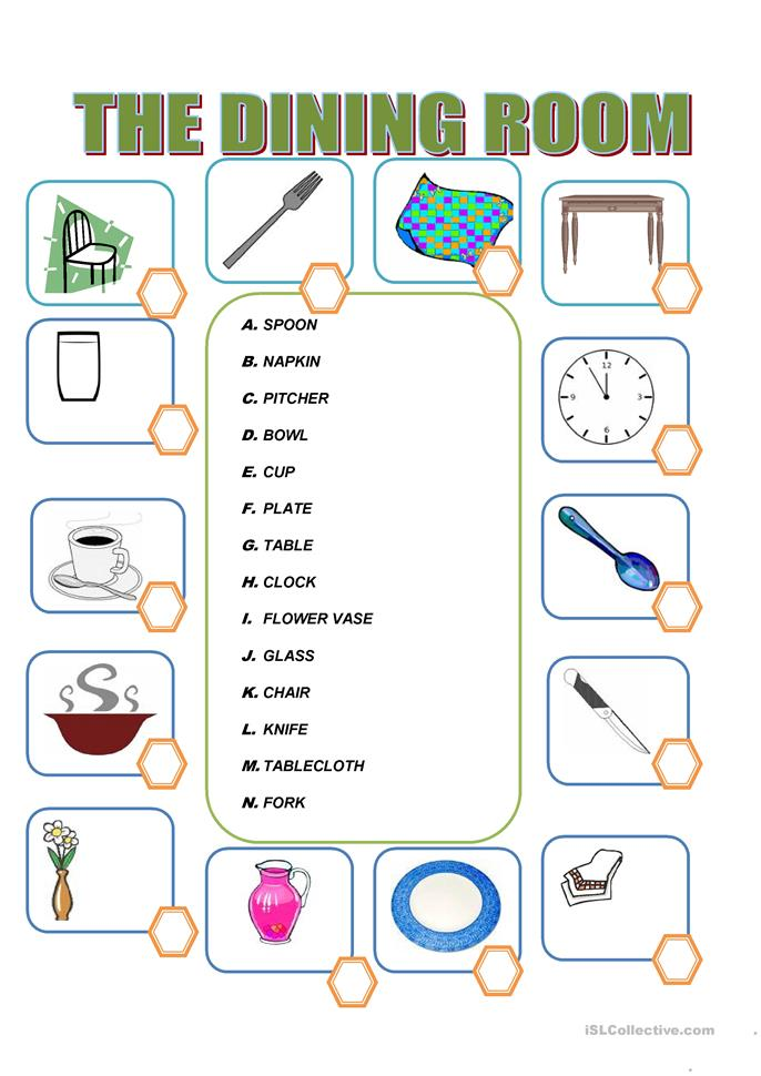 Furniture in the dining room worksheet free esl for Dining room vocabulary esl