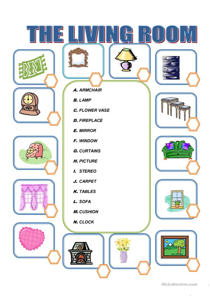 Furniture in the living room worksheet free esl for Living room vocabulary