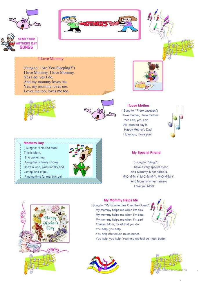 Mother's Day songs - ESL worksheets