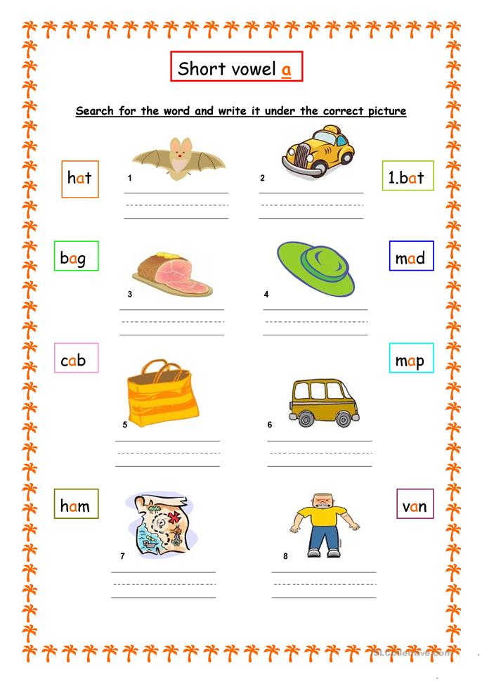 Worksheets Short Vowel A Worksheets 10 free esl short vowels worksheets fun with vowels