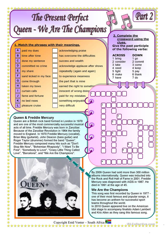 "Song for Present Perfect - ""We Are The Champions"" by Queen Part 2 o... - ESL worksheets"