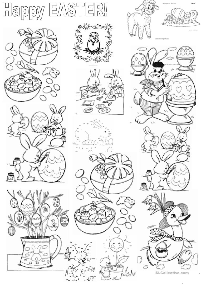 Colouring on worksheets - Easter And Colouring