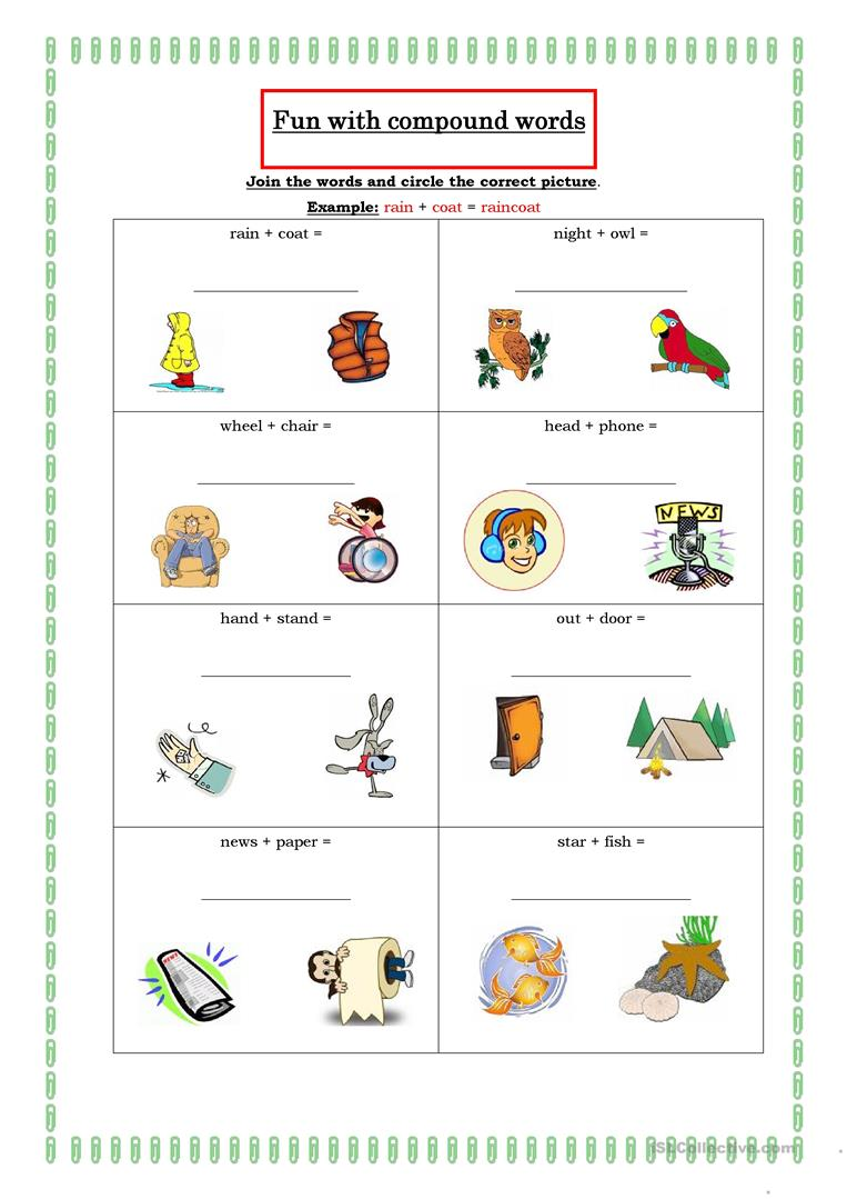 Free printable worksheets on compound words for first grade