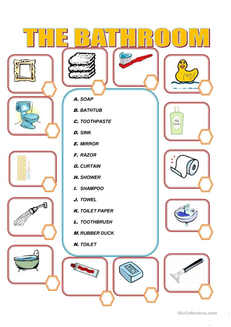 Furniture in the bathroom - English ESL Worksheets for distance