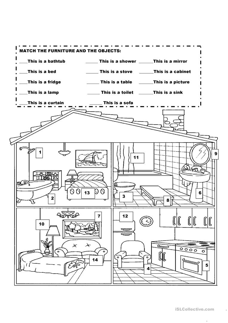 Furniture in the house worksheet free esl printable for Parts of the living room