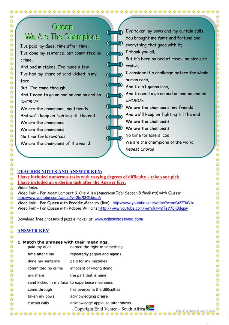 Song for Present Perfect - worksheet - Free ESL printable worksheets ...
