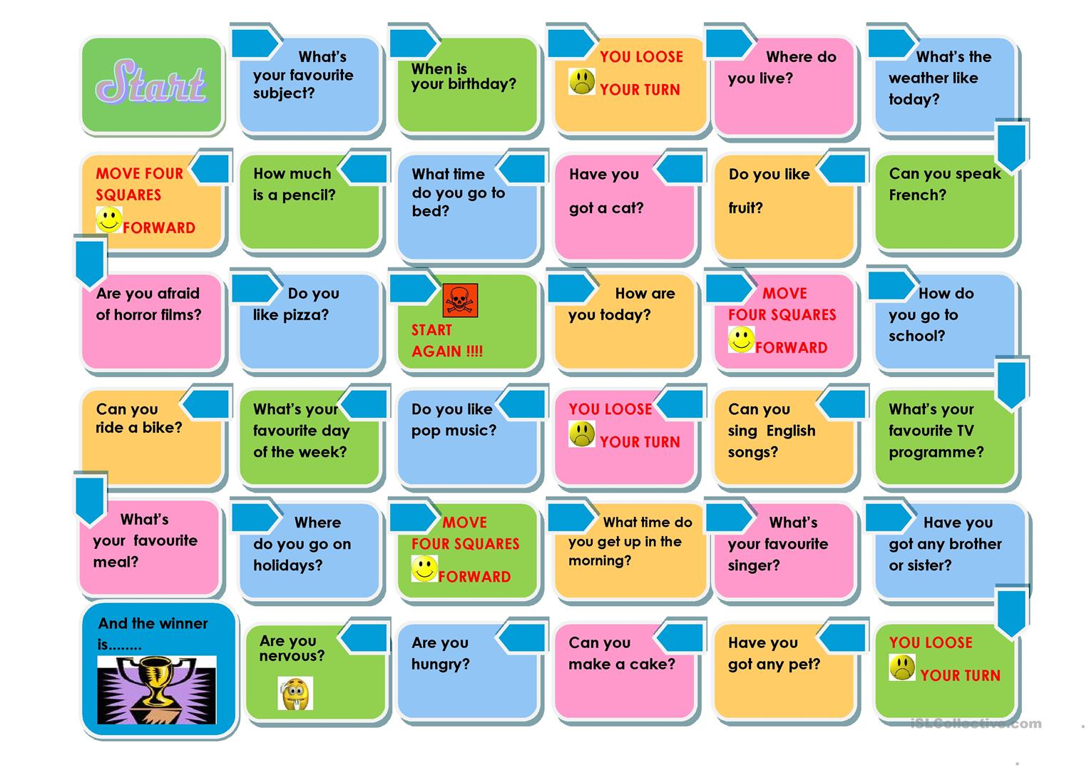 THE PRESENT SIMPLE GAME - English ESL Worksheets