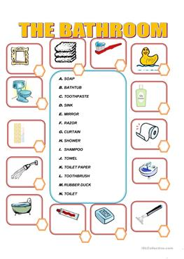 English ESL bathroom worksheets - Most downloaded (53 Results)